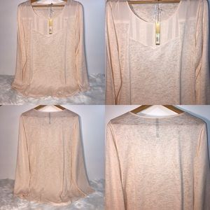 LC Conrad Lace Panel Yoke Tunic Top Blouse NWT XL